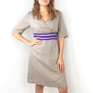 BODEN Gray Taupe Short Sleeve Dress 100% linen